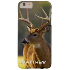 Personalized Whitetail Buck Animal Hunting Hunt iPhone 6 Plus Case This custom personalized case features wildlife nature photography from the Great Smoky Mountains National Park, TN - NC USA of a whitetail buck with a natural camo green background. Great for a hunter, hunting guide, sportsman or woman, outdoorsman or deer lover. Also a great Fathers Day or holiday gift for a hunting dad, grandpa, husband. #hunter #buck #antlers #camo