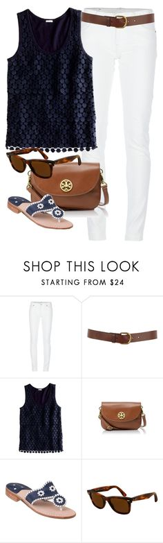 """""""Navy & White"""" by classically-preppy ❤ liked on Polyvore featuring Denim & Supply by Ralph Lauren, Warehouse, J.Crew, Tory Burch, Jack Rogers, Ray-Ban, lace, white jeans, wayfarer sunglasses and tortoise sunglasses"""