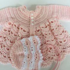 Baby girl sweater and hat, pink baby girl sweater, baby sweater, sweater hat booties Lace Toddler Dress, Baby Dress, Crochet Girls, Crochet Baby, Baby Girl Sweaters, Sweater Hat, Baby Images, Baby Christening, Crochet Clothes