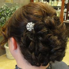 www.facebook.com/ericapstylist Structured updo with rhinestone accent clip