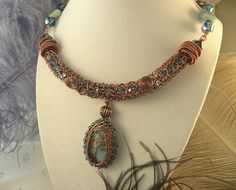Amazonite with Antique Copper Wire and Teal Crystals
