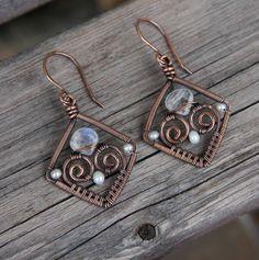 Copper Pearl Moonstone Wire WRapped Diamond Earrings
