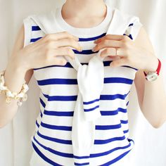 Marine Girl For Today Striped Knit Top