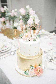 white and gold polka dot wedding cake