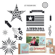 """Close to My Heart My Acrylix Stamp Set American Celebration  Set of 12  Recommended My Acrylix® Blocks:  2"""" × 2"""" (Y1003), 3"""" × 3"""" (Y1006), 2"""" × 3 1/2"""" (Y1009)    Stamp images outlined in red coordinate with the Cricut® Art Philosophy collection (Z1686).    $17.95"""