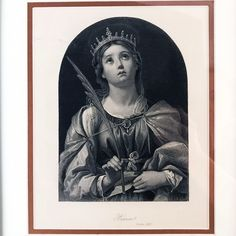 Antique Engraving of Saint Catherine of Alexandria Catholic Gifts, Catholic Art, Religious Gifts, Roman Catholic, St Catherine Of Alexandria, The Good Shepherd, Crown Of Thorns, Early Christian, Altars