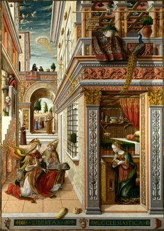 Annunciation with St. Emidius (1486) National Gallery, London Birth name	Carlo Crivelli Born	c1435 Venice, Italy Died	c1495 Marche (probably Ascoli Piceno) Nationality	Italian Field	Painting, tempera Movement	Late Gothic/Renaissance