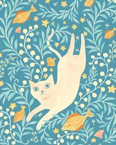 Pisces from Cat Zodiac illustration Pretty Cats, Cute Cats, Posca Art, Art Et Illustration, Cat Drawing, Art Design, Crazy Cats, Cat Art, Art Inspo