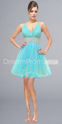 Luxurious Organza V-neck Short/Mini Ice Blue Sleeveless Cocktail/Homecoming Dresses
