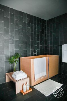 Inspiration Roundup: Beautiful Bathrooms - Japanese soaking tubs are deep and short, letting you properly soak your whole body without taking up too much floor space. Typically made of an aromatic wood like cedar or teak, and with a built-in bench, it's the ultimate relaxation tool. - @Homepolish New York City