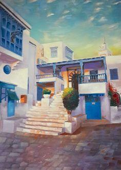 Café des Nattes Sidi Bou Said Oil painting unique and authentic painting Dimension: L90 X H130 site web :www.cpadt.com