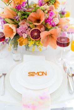 Bright, citrus inspired table details: http://www.stylemepretty.com/new-hampshire-weddings/2015/03/24/moden-citrus-inspiration-shoot/ | Photography: Kelsey DeWitt - http://kelseydewitt.com/