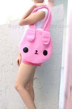 Pink Bunny Tote Bag Cute Backpack Kawaii by HappyCosmos on Etsy