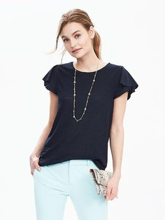 Flutter Sleeve Top | Banana Republic