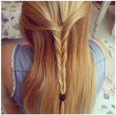 simple but lovely half up fishtail braid
