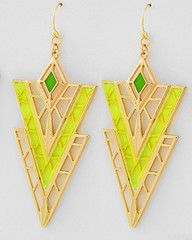 Limoncello Gold and Neon Yellow Statement Earrings-$24-Find hot fashion jewellery and statement jewlry at Strike Envy. #jewellery #jewlry