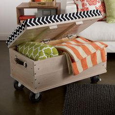 A rolling ottoman for a bedroom or a living room. Also become extra seating when needed. And pulling out a blanket when the nights are colder is nice benefit too.