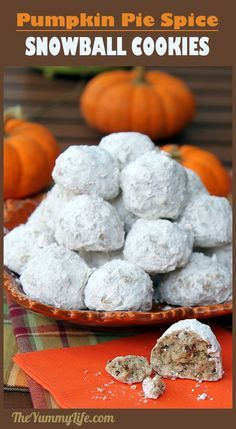 Pumpkin Spice Snowball Cookies are everything you love about the traditional version enhanced with the flavors of autumn. An easy, festive, and delicious treat. from The Yummy Life Pumpkin Pecan Pie, Pumpkin Dessert, Pumpkin Recipes, Fall Recipes, Holiday Recipes, Pumpkin Spice Cookies, Christmas Recipes, Thanksgiving Recipes, Cookie Desserts