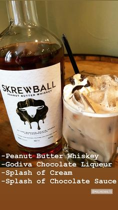 Reese s Cup made with Skrewball Peanut Butter whiskey Godiva chocolate liqueur a splash of cream and a touch of extra chocolate I m gonna need several of these DrinkBos Skrewball Whiskey GODIVA Godiva Spirits Reese s Whiskey Cocktails, Cocktail Drinks, Cocktail Recipes, Alcoholic Drinks, Beverages, Whiskey Recipes, Alcohol Drink Recipes, Beer Recipes, Fancy Drinks