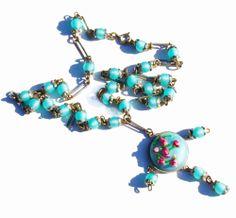 Vintage turquoise glass pendant necklace...   #vintage #turquoise #necklace #bead #glass