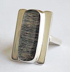 Alan Adler American Ring, c. 1980 Sterling silver and rutilated quartz Stamped Alan Adler Sterling 1 1/4 x 1