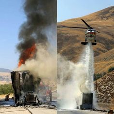 FEATURED POST  @lacofireairops -  LARGE VEHICLE FIRE 7/27/16 COPT19 Firehawk helicopter made two water drops on a burning semi truck that had already ignited one small brush fire and threatened to ignite more. The incident occurred on northbound Interstate 5 just south of Gorman CA. Due to difficult trailer access limited water supply and high wildfire danger the Incident Commander requested the helicopter to knockdown the bulk of the heavy fire. @lacountyfd @kern_county_fire…