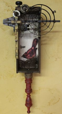 """The Cardinal Rule""--Assemblage--Encaustic, Found Objects, Ink, and Oil--Junk Drawer Series--Artist:  Kathy Moore   www.kathymooreart.com"