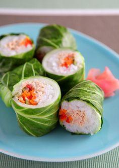 野菜好きな大人女子には、こんな巻き寿司もおすすめ。海苔の代わりにキャベツで巻いています。レンジ使用でとても簡単!