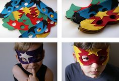 superhero masks in felt Diy For Kids, Cool Kids, Costumes Couture, Felt Mask, Kids Dress Up, Super Hero Costumes, Kid Costumes, Learn To Sew, Diy Party