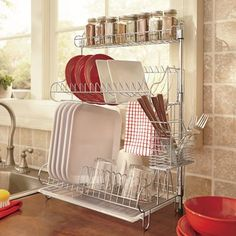 Dish rack and spice rack for small spaces. #minimalism #declutter #smallliving