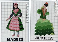 0 point de croix  espagnole habit traditionnel madrid séville  - cross stitch spanish traditional clothes
