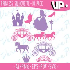 Princess Silhouette Svg, Ai, Eps, Pdf Cutting file, Princess Carriage vector clipart, silhouette cameo cricut clip art Commercial use by verveprint on Etsy