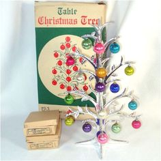 Why did I sell mine??? :-( 1950 Shiny Brite Table Top Christmas Tree With Ornaments In Box, Artificial Trees, Christmas Tree Stands, Skirts