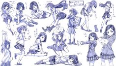女の子制服ポーズ練習その2 - ニコニコ静画 (イラスト)
