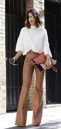 summer outfits White Top + Brown Wide Pants