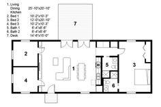Plano de casa minimalista de tres dormitorios
