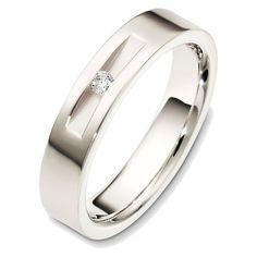 14K White Gold Diamond Wedding Band (0.06ct. tw.) | www.weddingbands.com | @Judy Clark Bands