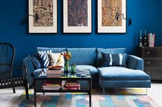 Discover ideas for displaying art on HOUSE - design, food and travel by House & Garden. Cheap and chic, here marbled wrapping paper makes an impact on walls.