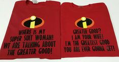His and Hers Matching Couples Disney World Vacation Tshirts inspired by the Incredibles! Where is my super suit!