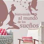 """Bienvenido al mundo de los sueños. Vinilso decorativos de hadas con estrellitas y una frase: """"Bienvenido al mundo de los sueños"""" Perfectos para la decoración de las paredes en habitaciones infantiles."""