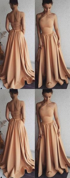 champagne long prom dress, champagne backless long evening dress
