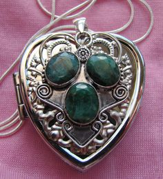 Raw Emeralds Heart Shaped Music Box Locket with Sterling Silver Necklace  - Choose from 150+ songs by VanityJewelBox on Etsy