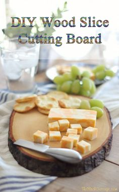 An easy DIY Wood Slice Cutting Board tutorial from The Birch Cottage