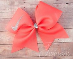 Cheer Bow Coral Coral bow gifts for by OnceUponATwincess on Etsy