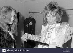 the Faces on tour in America. Rod Stewart backstage  April 1975