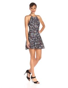 Parker #Womens #Coasta #Abstract Pattern #Halter #FitAndFlare Dress #Dresses #Parker @parkernewyork #Silk #ZigZag #WTS #WhoTopsSyle