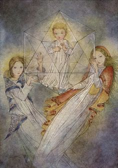 """The Crystal"" by Sulamith Wulfing - The Christ Child inside an icosahedron, which represents water."