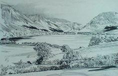 Loweswater, English Lake District, original drawing by Karl Stedman, kstedmanart@aol.com