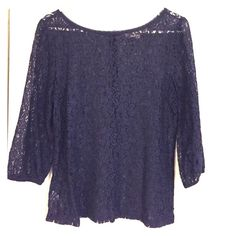 Navy/black lace 3/4 sleeve All lace top with button back detail. Very soft fabric, a little looser in the sleeves, elastic at sleeve ends to create billow look. LOFT Tops Blouses
