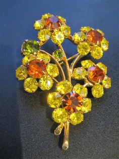 Vintage Signed Eisenberg Multi Color Canary Yellow Olive Green Topaz Floral Brooch by CLASSYBAG on Etsy